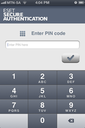 ESET Secure Authentication - Enter PIN code