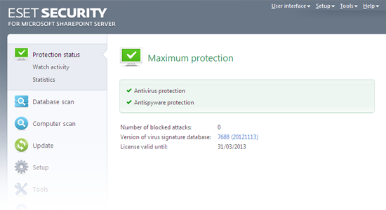 ESET Security for Microsoft SharePoint - Protection status