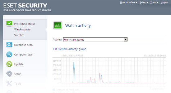 ESET Security for Microsoft SharePoint Release Candidate - Watch activity