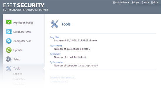 ESET Security for Microsoft SharePoint - Tools