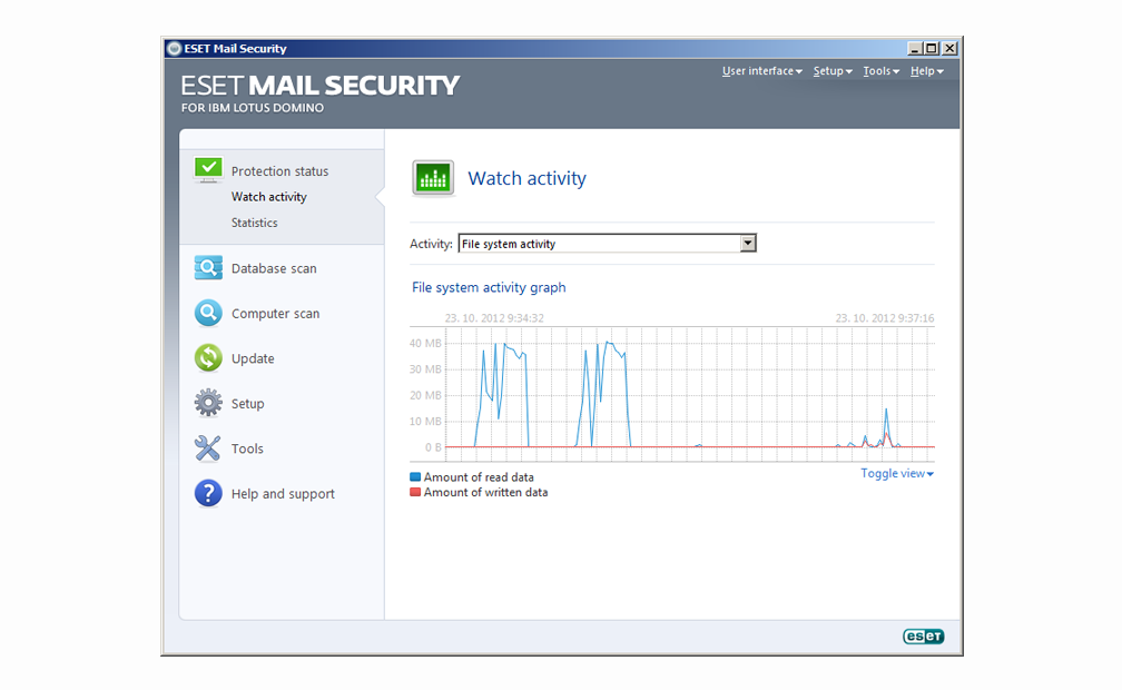 ESET Mail Security for IBM Lotus Domino - Watch activity