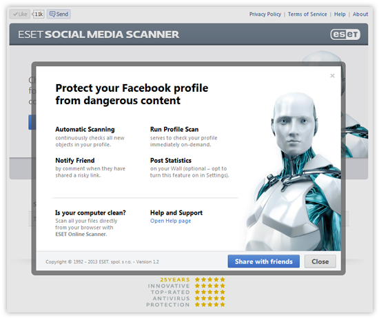ESET Social Media Scanner - Facebook Share screenshot